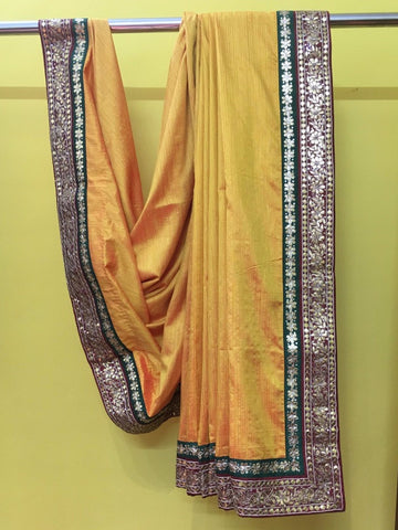 Dark Yellow, Red & Green Sari