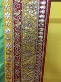Sea Green, Red & Yellow Sari