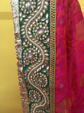 Fuscia Green Gold Sari