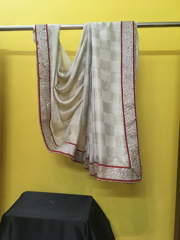 Cream Black Red Sari