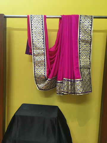 Fuscia Purple Gold Silver Sari