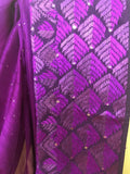 Purple Phulkari Embroidered Sari
