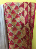 Beige Phulkari Embroidered Sari