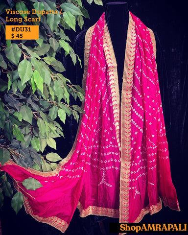 Viscose Dupatta  - Bandhni with Border 31