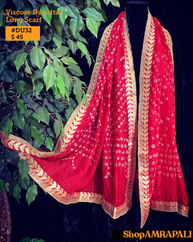 Viscose Dupatta  - Bandhni with Border 32