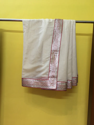 Cream Gold Red Sari