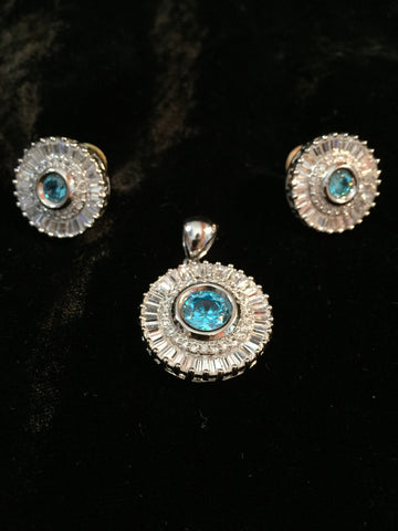 CZ Pendant & Earrings Set