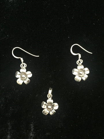 Silver Pendant & Earrings