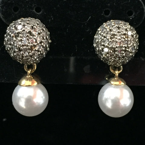 CZ Earrings with Crystal Drop 1""
