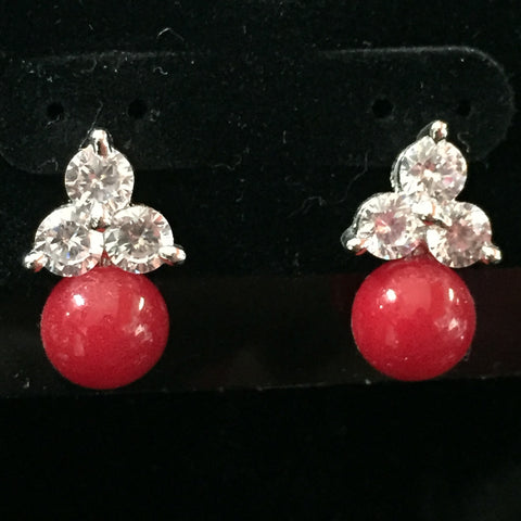 CZ Earrings with Color Drop