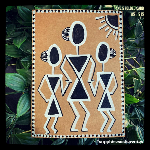Handpainted Warli Art 4.2x5.5""