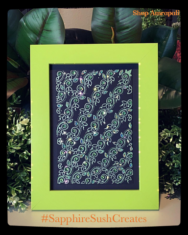 "Framed Art ~ Handpainted Bejeweled 5""x7"""