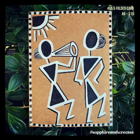 "Handpainted Warli Art 4.2""x5.5"""