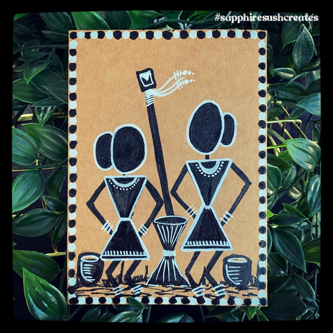 "Handpainted Warli Art - 4.2""x5.5"""
