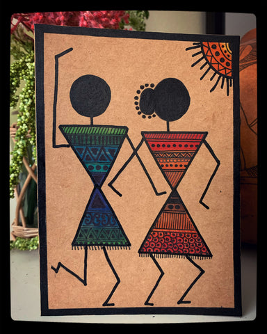 "Handpainted Warli Art 5""x7"""