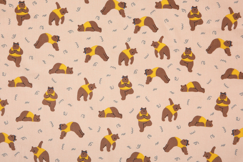 "Design Fabric (Cotton 20C) : Yoga Bear 42"" Wide - Dailylike Canada"
