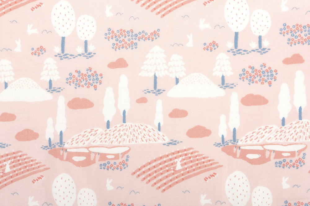 "Design Fabric (Organic Cotton 20C - GOTS Certified) : Rabbit Village 42"" Wide - Dailylike Canada"