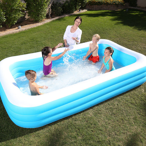 Deluxe Blue Rectangular Family Pool