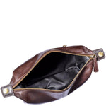 Mens Brown Leather Shaving Dopp Travel Kit with Waterproof Interior