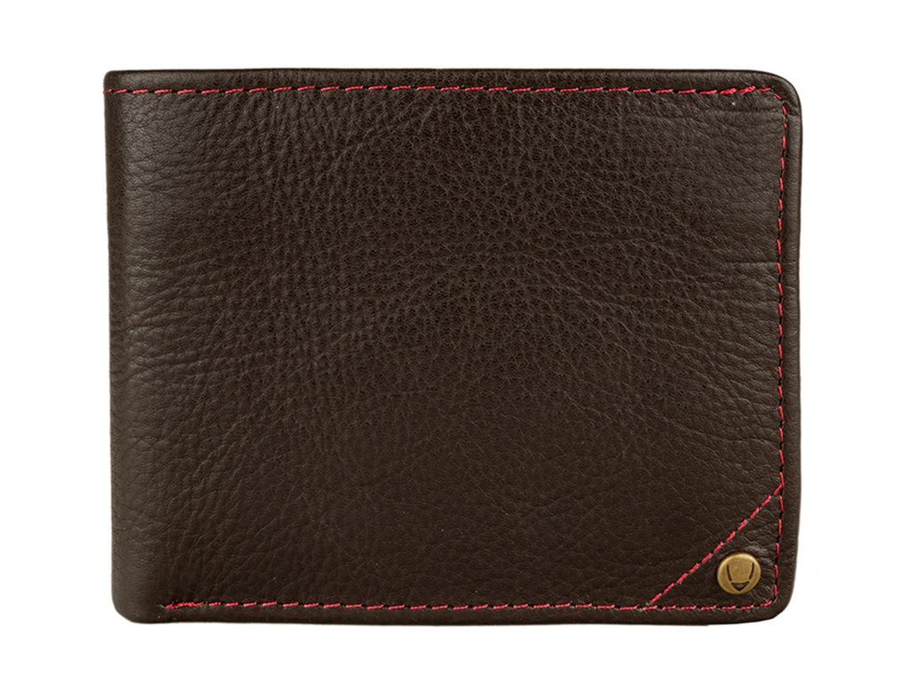 Mens Angle Stitch Leather Slim Bifold Wallet