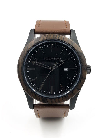 Mens Wood Watches | Walnut | Brown Leather