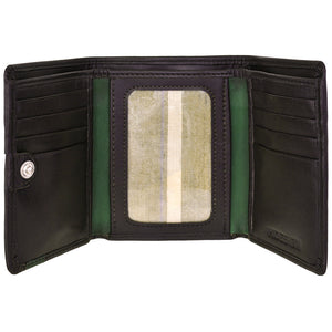 Mens Compact Trifold Leather Wallet with ID Window