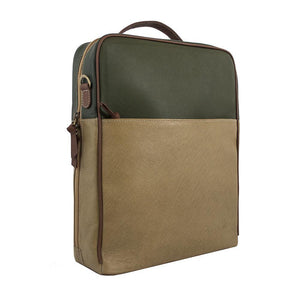 Leather Backpack-Tan/Olive Green