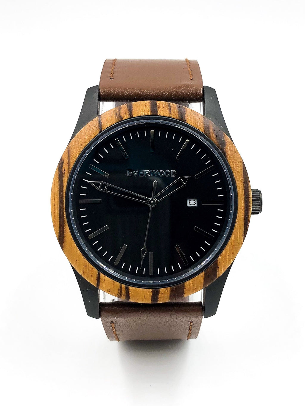 Mens Wood Watches | Zebrawood | Brown Leather