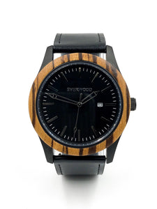 Mens Wood Watches | Zebrawood | Black Leather
