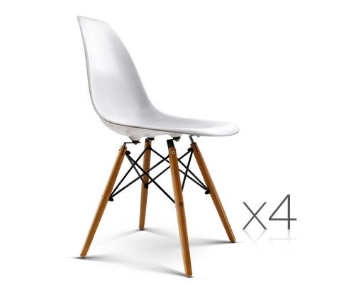 Replica Eames Eiffel Dining Chairs White (4)