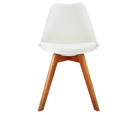 White Padded Eames Dining Chairs (4)