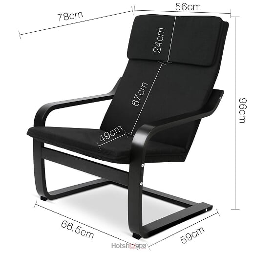 Lounge Armchair - Black Fabric