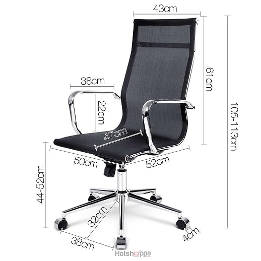 Executive Office Chair Curve High Back - Black