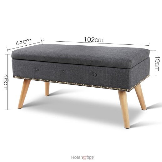 Storage Ottoman Linen Fabric - Grey