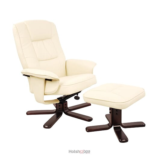 Recliner Chair PU Leather Lounge With Ottoman - Beige