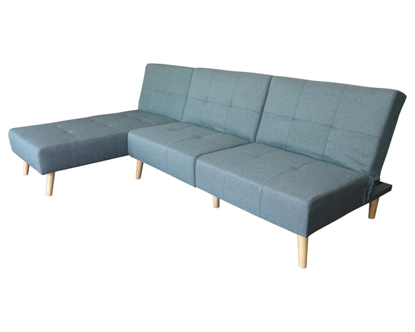 Boston Chaise Fabric SOFABED with Wooden Legs