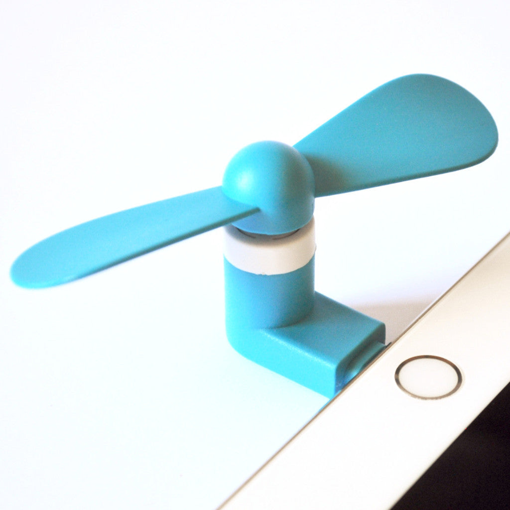 Stay Cool Blue Apple iPhone iPad Fan (Lightning Connector)