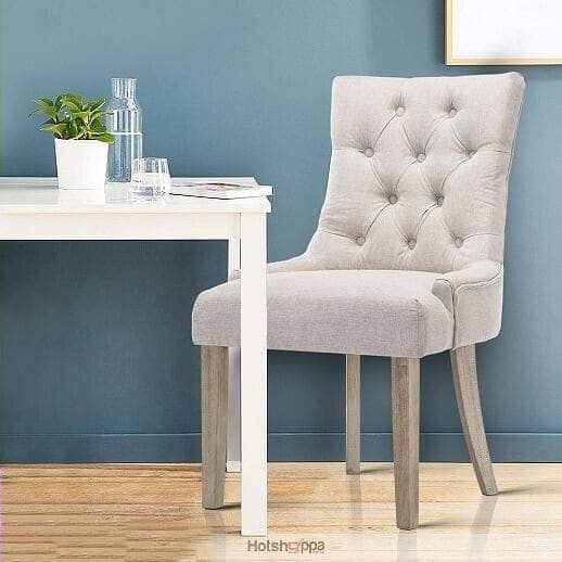 Dining Chair Tufted Buttoned Seat - Beige