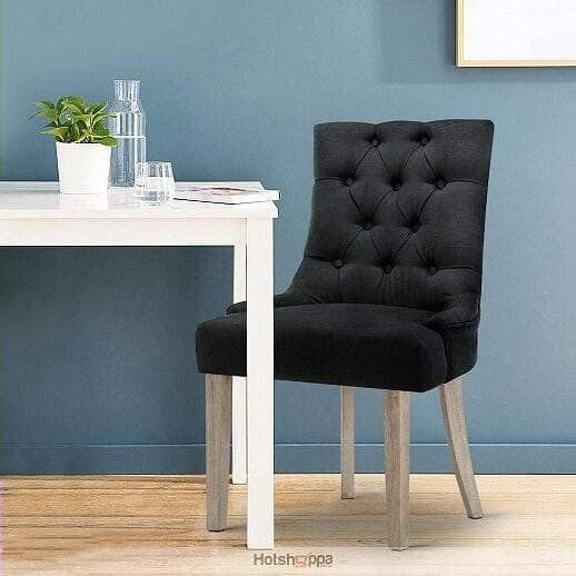 Dining Chair Tufted Buttoned Seat - Black