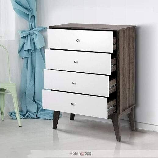 Dresser 4-Chest Drawers - Dark Grey and White