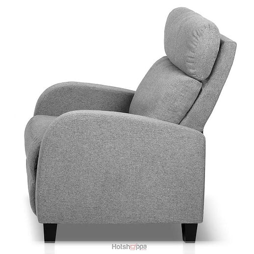 Recliner Sofa Padded Fabric Armchair - Grey
