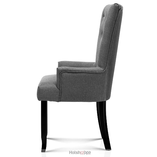Studded Dining Chair - Tufted Grey