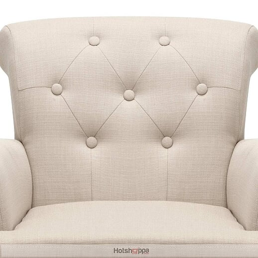 Winged Arm Chair Linen Fabric - Taupe