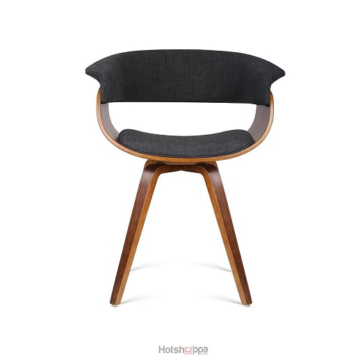 Fabric Dining Chair Curve Back Rest - Charcoal