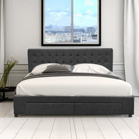 Bed Frame with 4 Drawers (King, Queen, Double) - Colorado Storage Series