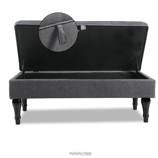 Storage Ottoman Linen Fabric Soft Cushion - Grey