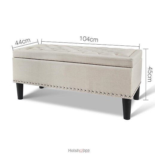 Storage Ottoman Linen Fabric with Studs - Taupe