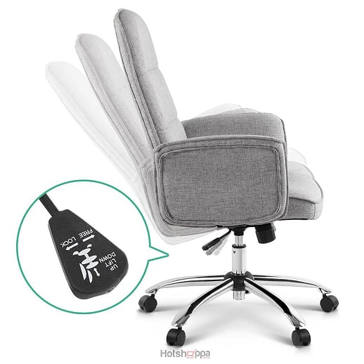 Modern Office Chair Executive Fabric Swivel Seat - Grey