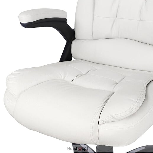 Office Chair 8 Point Massage Executive PU Leather - White