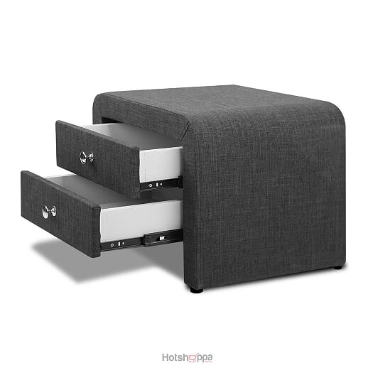 Bedside Table with Drawers - Charcoal Grey